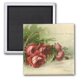 Vintage Victorian Valentine's Day, Red Roses 2 Inch Square Magnet