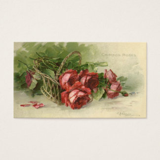 Vintage Victorian Valentine's Day, Red Roses Business Card