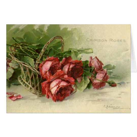 Vintage Victorian Valentine's Day, Red Roses Card
