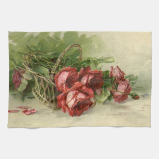 Vintage Victorian Valentine's Day, Red Roses Hand Towel