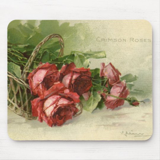 Vintage Victorian Valentine's Day, Red Roses Mouse Pad
