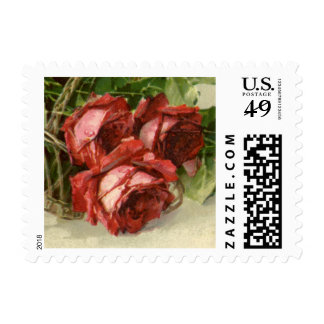 Vintage Victorian Valentine's Day, Red Roses Postage