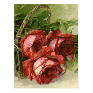 Vintage Victorian Valentine's Day, Red Roses Postcard