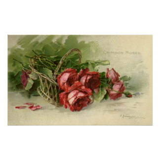 Vintage Victorian Valentine's Day, Red Roses Poster
