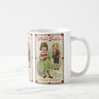 Vintage Victorian Valentine's Day, Shy Children Coffee Mug
