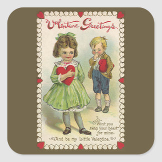 Vintage Victorian Valentine's Day, Shy Children Square Sticker