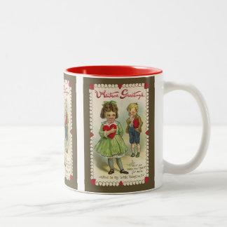 Vintage Victorian Valentine's Day, Shy Children Two-Tone Coffee Mug
