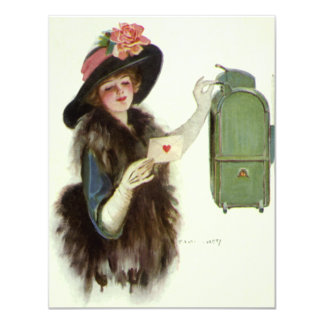 Vintage Victorian Valentines Day Woman Love Letter Card