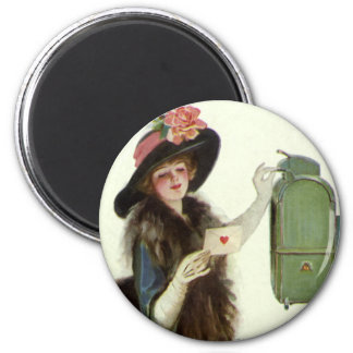 Vintage Victorian Valentines Day Woman Love Letter Magnet