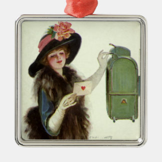 Vintage Victorian Valentines Day Woman Love Letter Metal Ornament