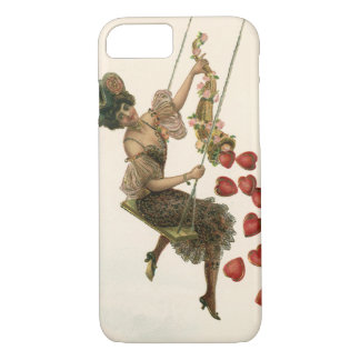 Vintage Victorian Valentine's Day, Woman on Swing iPhone 7 Case