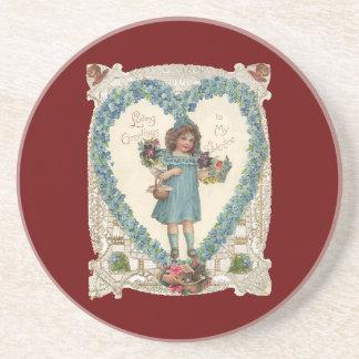 Vintage Victorian Valentines Girl Flowers Hearts Beverage Coaster