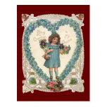 Vintage Victorian Valentines, Girl Flowers Hearts Postcard