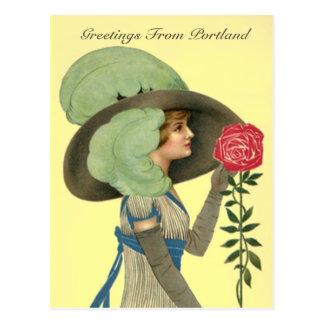 VINTAGE VICTORIAN w/ ROSE Portland OR POSTCARD