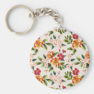 Vintage Victorian Watercolor Floral Pattern Keychain