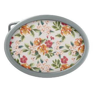 Vintage Victorian Watercolor Floral Pattern Oval Belt Buckle