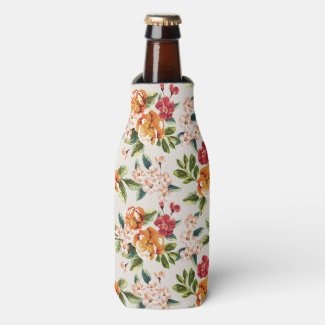 Vintage Victorian Watercolor Floral Pattern Bottle Cooler