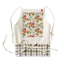 Vintage Victorian Watercolor Floral Pattern Zazzle HEART Apron