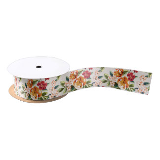 Vintage Victorian Watercolor Floral Pattern Satin Ribbon