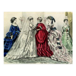 Vintage Victorian Wedding Bride Bridesmaid Bridal Postcard