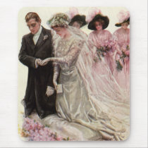 Vintage Victorian Wedding Ceremony Bride and Groom Mouse Pad