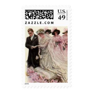 Vintage Victorian Wedding Ceremony Bride and Groom Postage