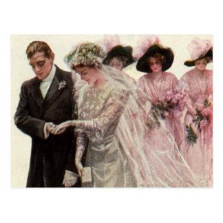 Vintage Victorian Wedding Ceremony Bride and Groom Postcard
