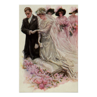 Vintage Victorian Wedding Ceremony Bride and Groom Poster