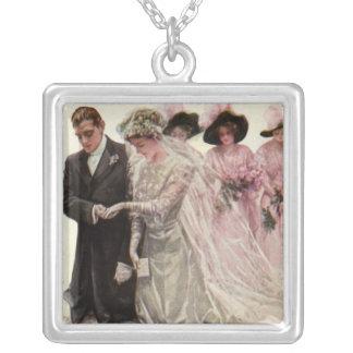 Vintage Victorian Wedding Ceremony Bride and Groom Silver Plated Necklace