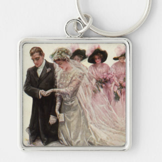 Vintage Victorian Wedding Ceremony, Bride Groom Silver-Colored Square Keychain