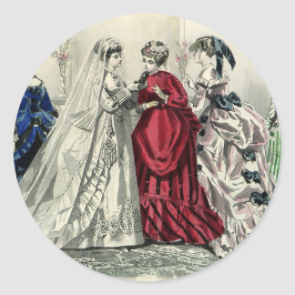 Vintage Victorian Wedding Party Bridal Portrait Classic Round Sticker