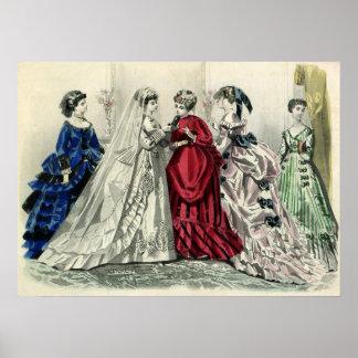 Vintage Victorian Wedding Party Bridal Portrait Poster