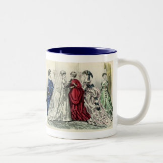 Vintage Victorian Wedding Party Bridal Portrait Two-Tone Coffee Mug