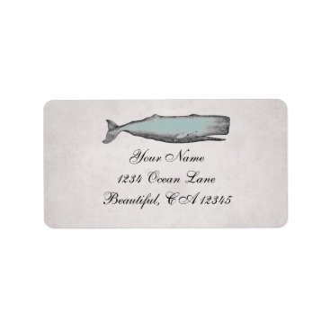 Beach Themed Vintage Victorian Whale Beach Address Label