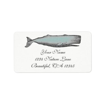 Beach Themed Vintage Victorian Whale Black, White Beach Address Label