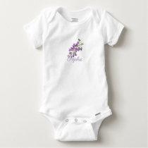 Vintage/Victorian Wisteria Flowers Personnalised Baby Onesie