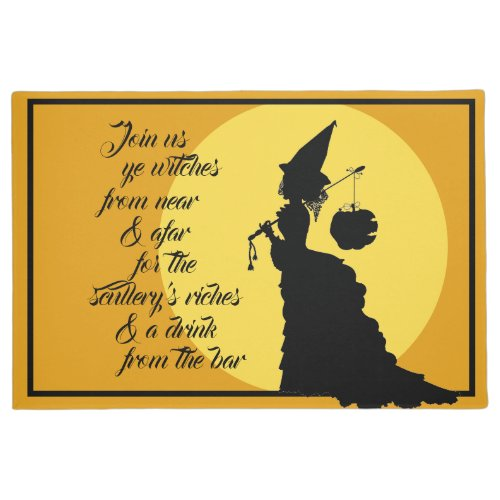 Vintage Victorian Witch Silhouette Open House Doormat