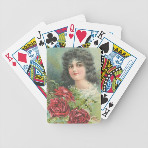 Vintage Victorian Woman Portrait Bicycle Poker Cards