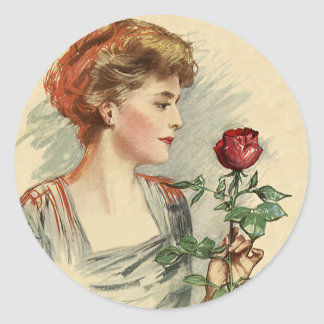 Vintage Victorian Woman Red Rose Flower Floral Classic Round Sticker