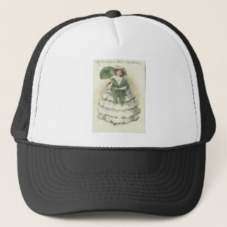 Vintage Victorian Woman St Patrick's Day Card Trucker Hat