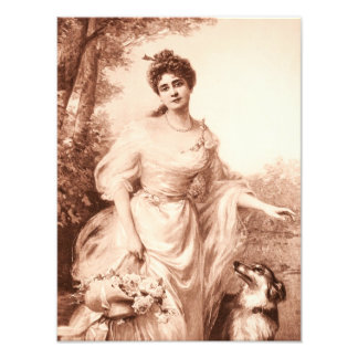 Vintage Victorian Woman w Border Collie Dog Retro Art Photo