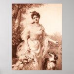 Vintage Victorian Woman w Border Collie Dog Retro Poster