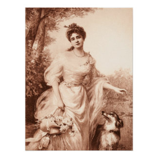 Vintage Victorian Woman w Border Collie Dog Retro Poster