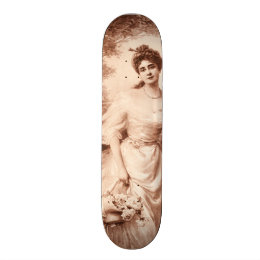 Vintage Victorian Woman w Border Collie Dog Retro Skateboard Deck