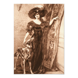 Vintage Victorian Woman w Greyhound Dog Template