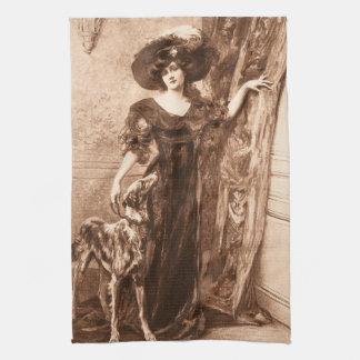 Vintage Victorian Woman w Greyhound Dog Template Kitchen Towels