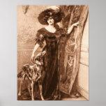 Vintage Victorian Woman w Greyhound Dog Template Poster