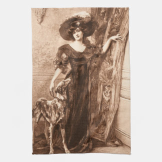 Vintage Victorian Woman w Greyhound Dog Template Towel