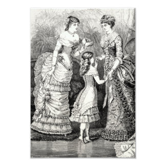 Vintage Victorian Women Girl Party Dresses Card