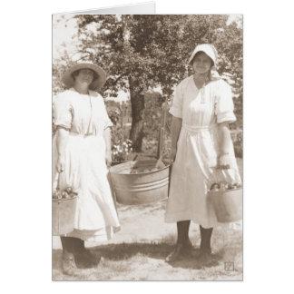 Vintage Victorian Women Picking Apples Card